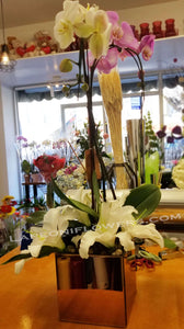 Orchids and Lilies on Vase - Lapeoni Flowers and Events