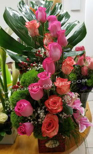 Two-Tone Rose on Vase Arrangement - Lapeoni Flowers and Events