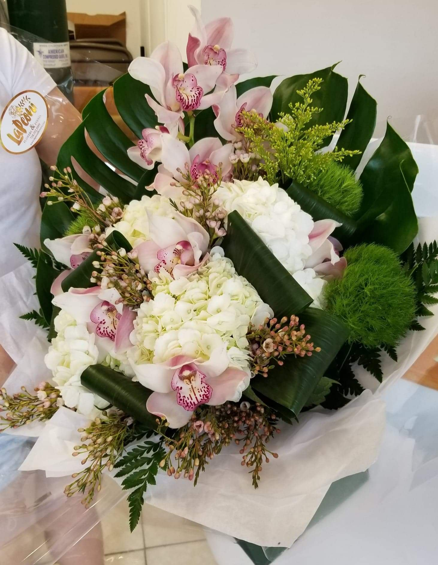 White Floral with Cymbidium Bouquet - Lapeoni Flowers and Events