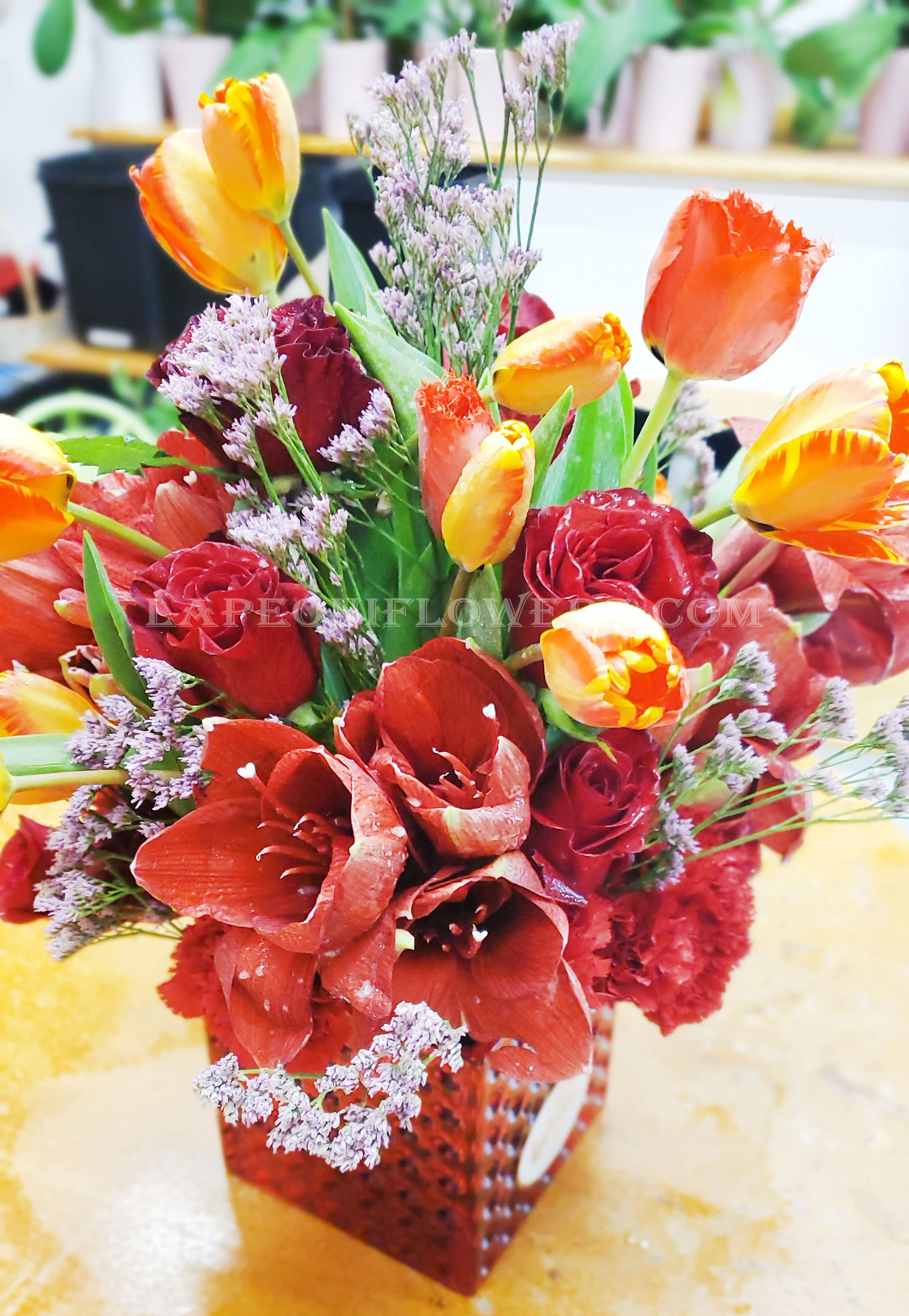 Tulips and Roses in a Vase - Lapeoni Flowers and Events