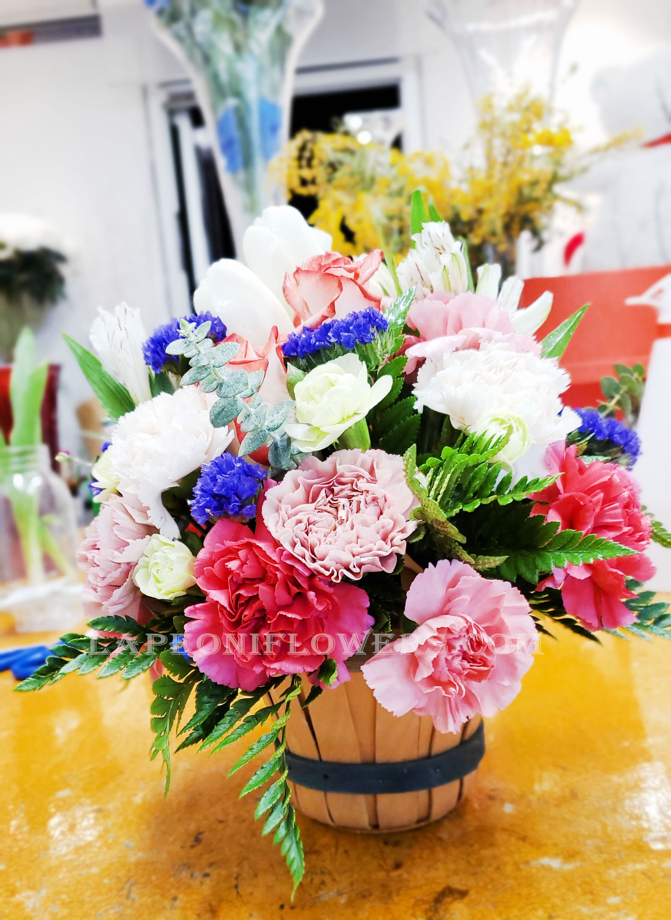 Simple Pleasure Basket - Lapeoni Flowers and Events