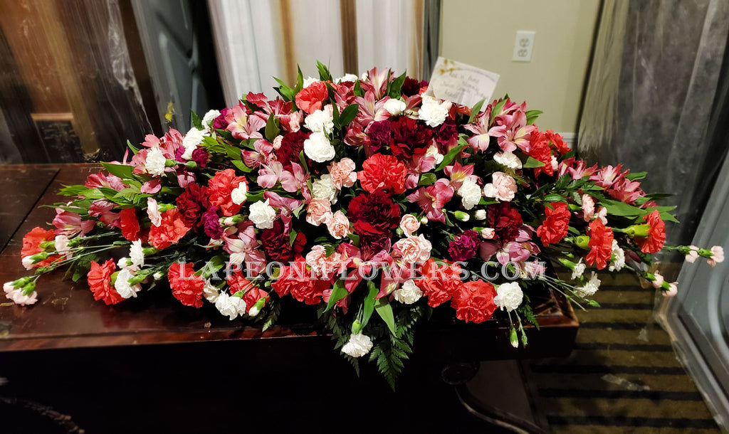 Carnation Casket Spray - Lapeoni Flowers and Events