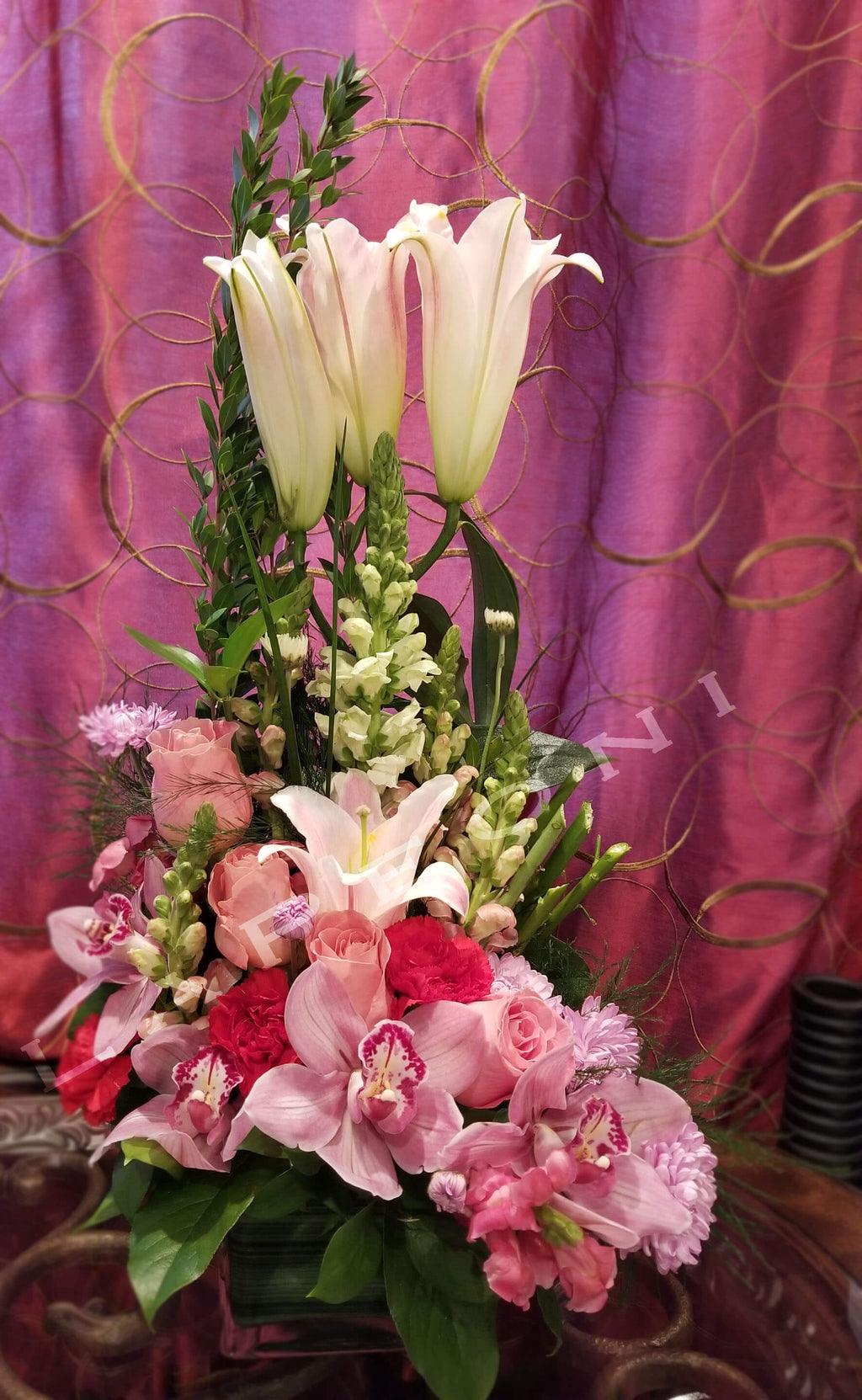 Birthday Surprise - flowers delivery-Roses, lilies, orchids, carnation. Lapeoni Flowers and Events