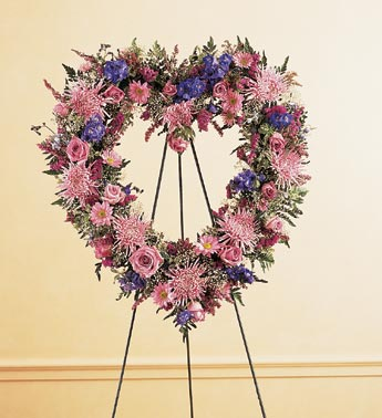 Sympathy Heart Wreath on Stand - Lapeoni Flowers and Events