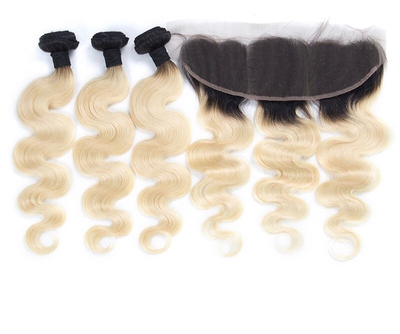 613 & 1B Body Wave Bundles With Frontal