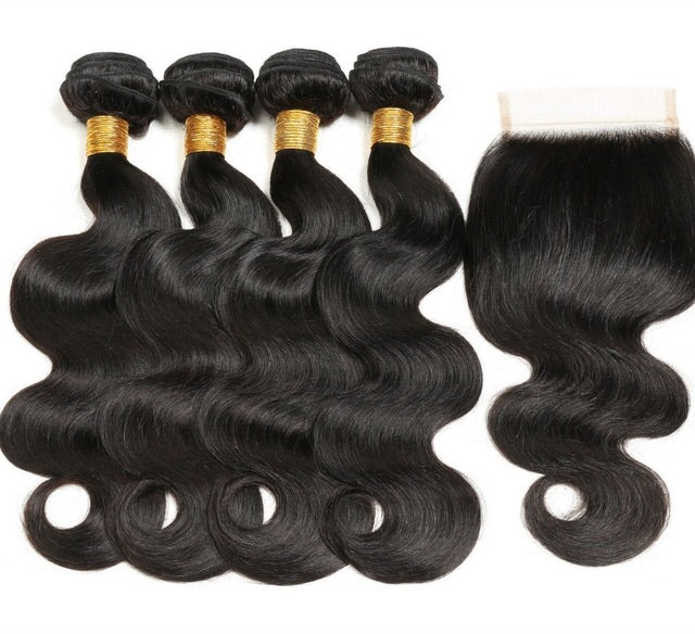 Body Wave Bundle Deal -18,20,22,24 + 16 inch Closure