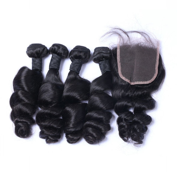 Loose Wave Bundle Deals - 20,22,24,26 + 18 inch Closure