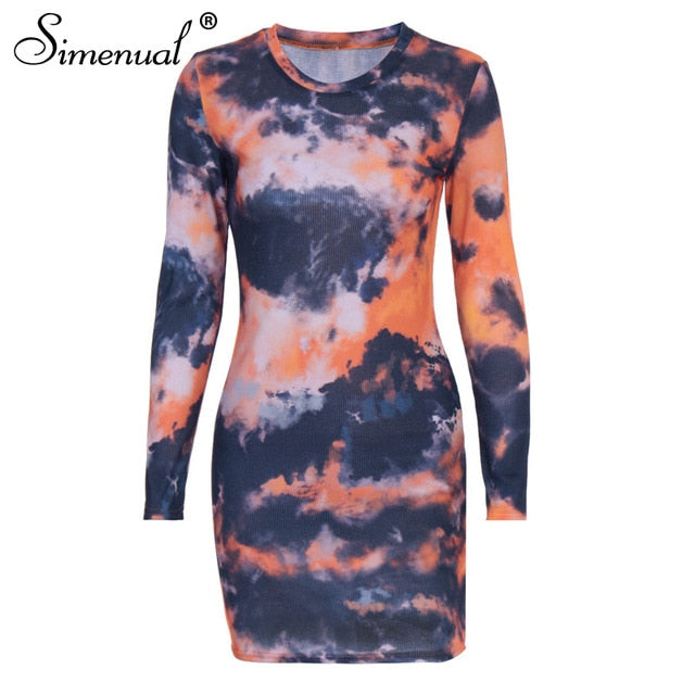 Tie Dye Ribbed Bodycon Dress