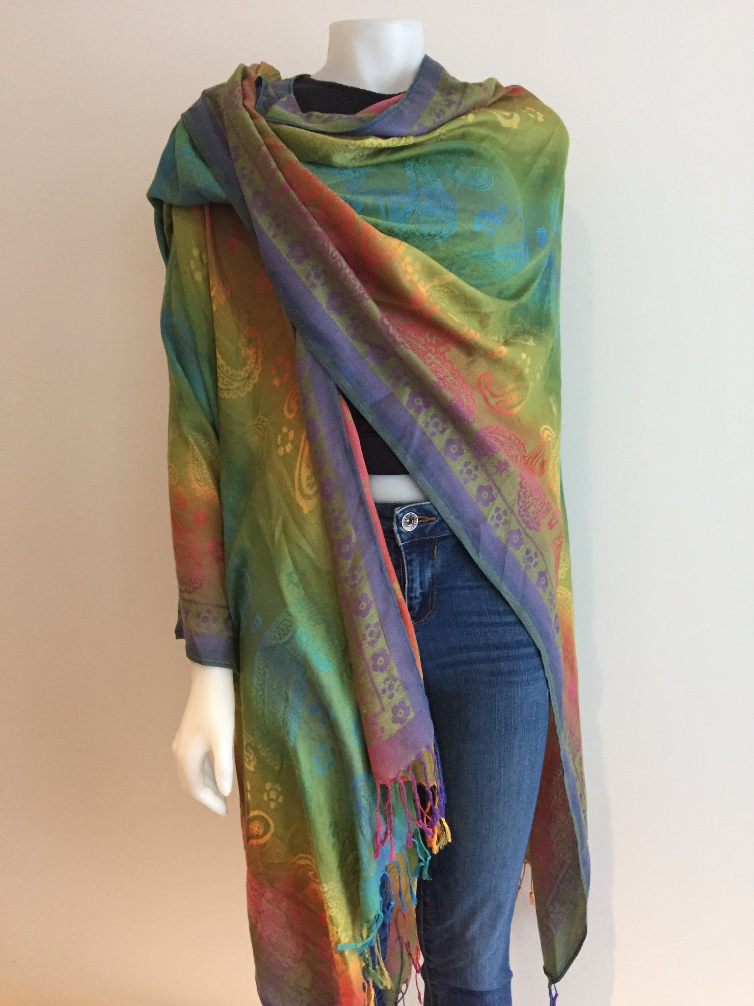 GREEN RAINBOW SHAWL with Flowers