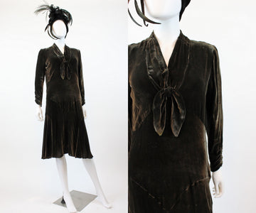 1920s 1930s silk velvet dress small medium | vintage flapper dress | new in