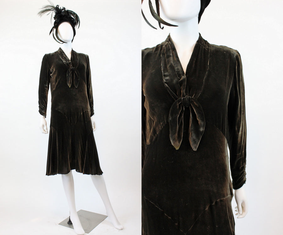 1920s 1930s silk velvet dress small medium | new fall