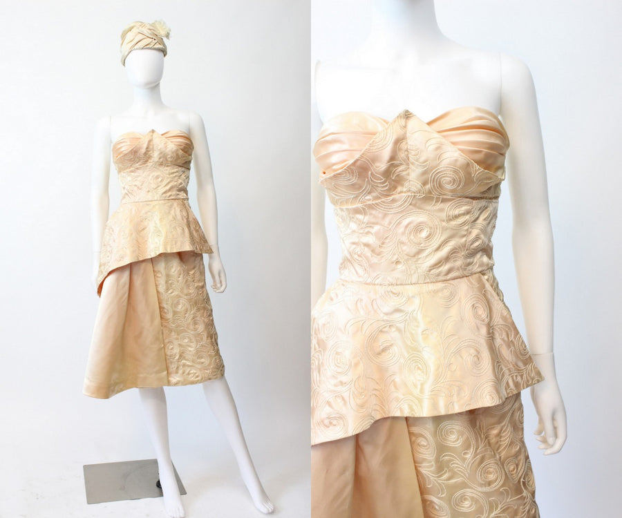 1950s strapless nude cocktail dress xs | new fall
