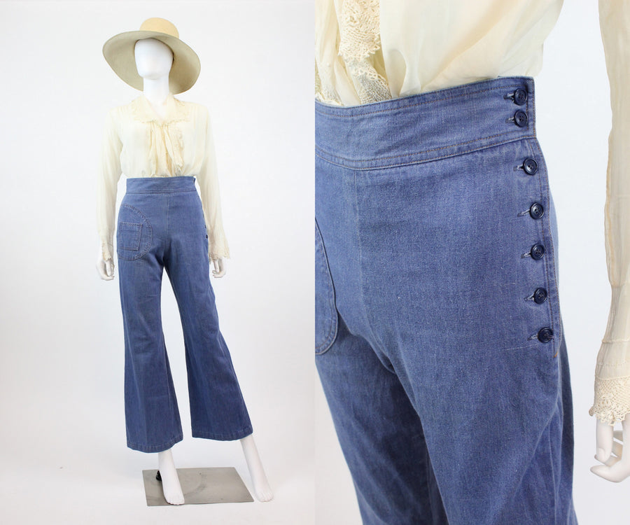vintage 1970s does 1940s side button jeans xs | vintage wide legs pants | new in