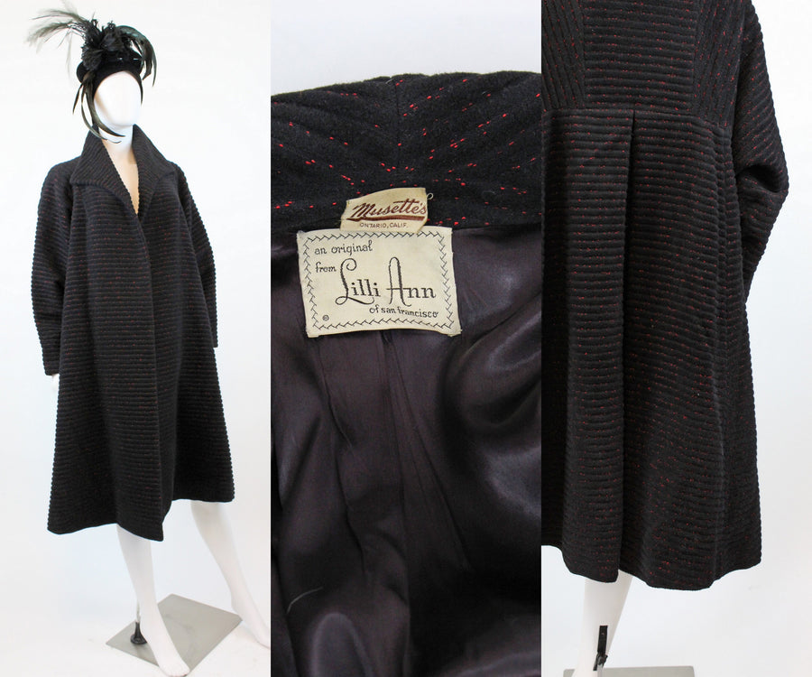 1940s 1950s Lilli Ann swing coat small medium large | new fall