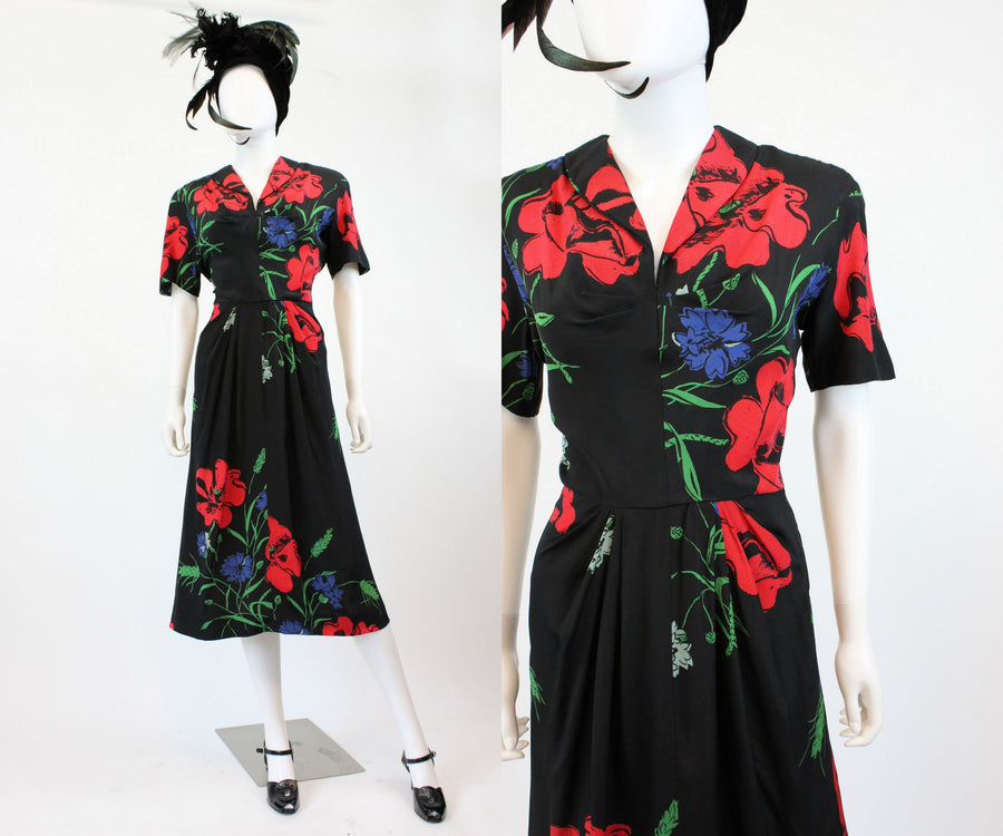1940s HUGE red poppy print dress small | vintage rayon dress | new in