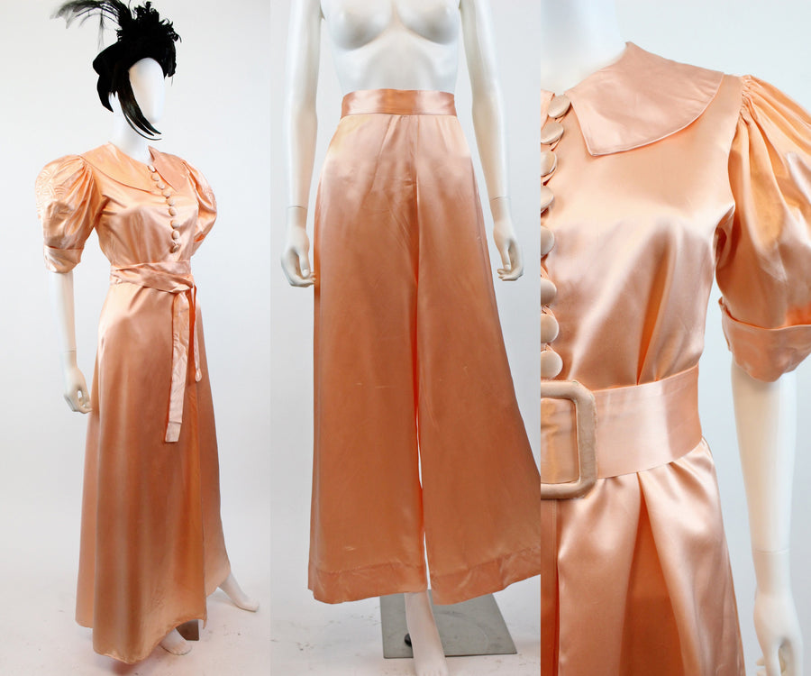 1930s five piece lingerie set xs | vintage palazzo pants blouse robe | new in