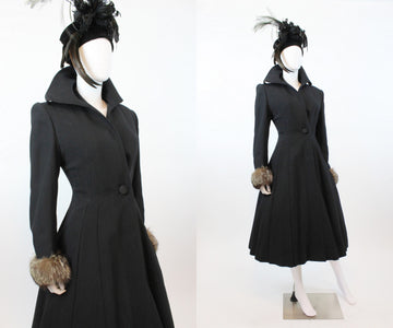 1950s princess coat fur cuffs small medium | new in