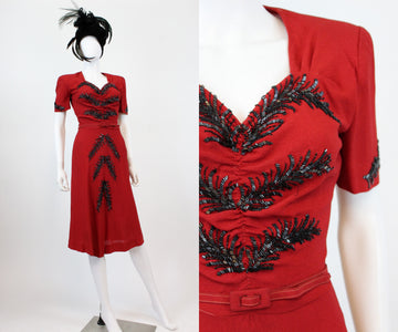 1940s red feather beaded dress xs | vintage rayon cocktail dress | new in