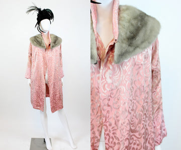 1920s silk and fur kimono jacket | vintage fur collar robe coat | new in