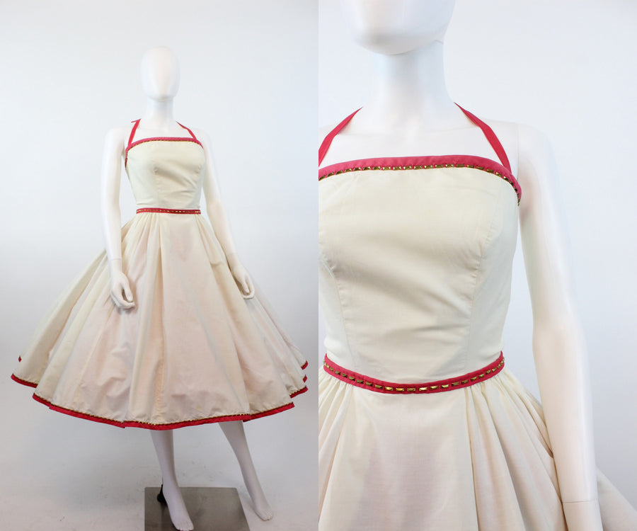 1953 Pat Premo DOCUMENTED studded dress | 1950s halter dress | xs
