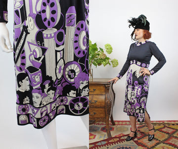 1970s paganne old radio print dress small | vintage hollywood stars dress