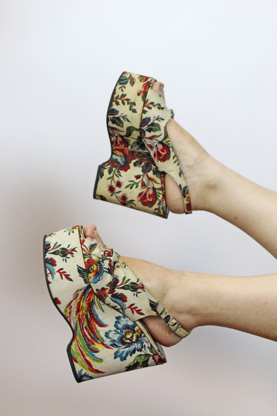RESERVED 1970s chinoiserie wedges size 7 us | HUGE platform shoes | new in