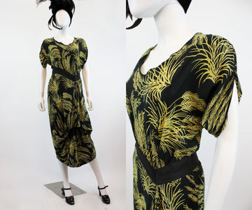 1940s wheat print novelty print dress small | vintage rayon dress | new in