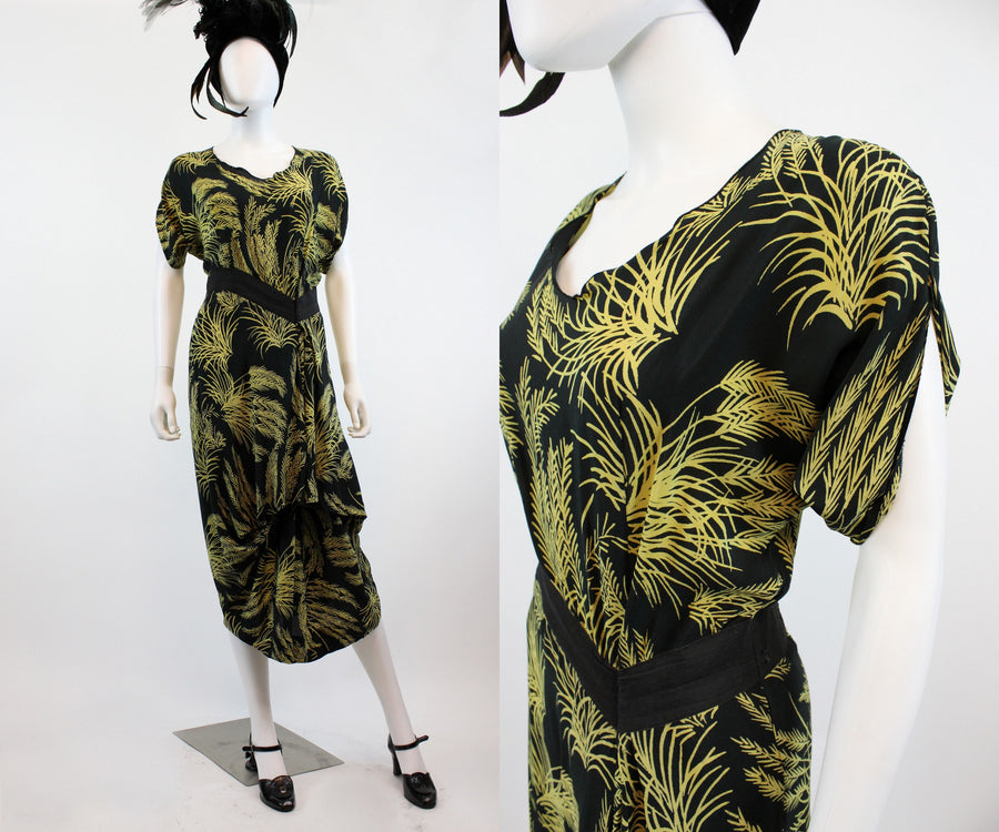 1940s wheat print novelty print dress small | vintage rayon dress | new fall