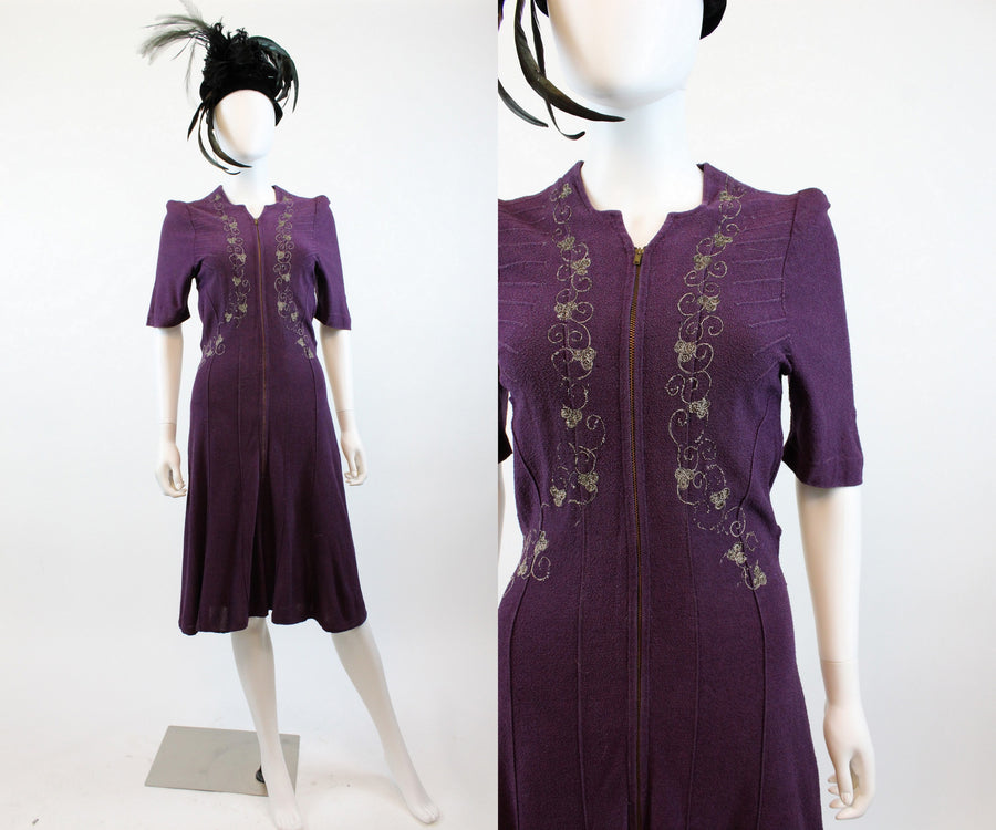 1930s purple knit embroidered dress xs small | new in