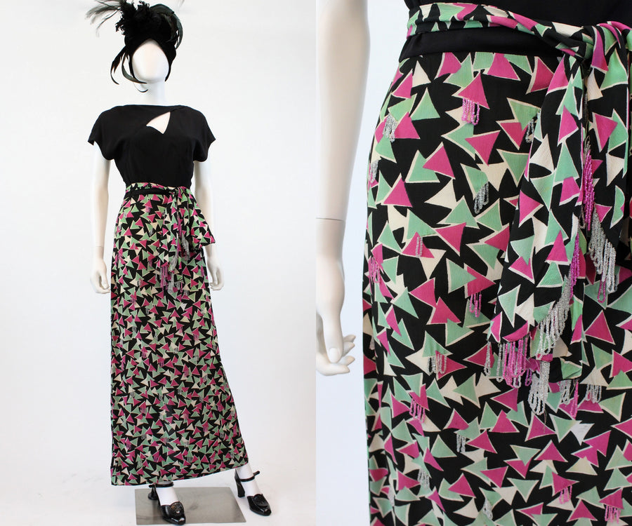 1940s asymmetrical neckline gown xs | vintage art deco print beaded dress | new fall