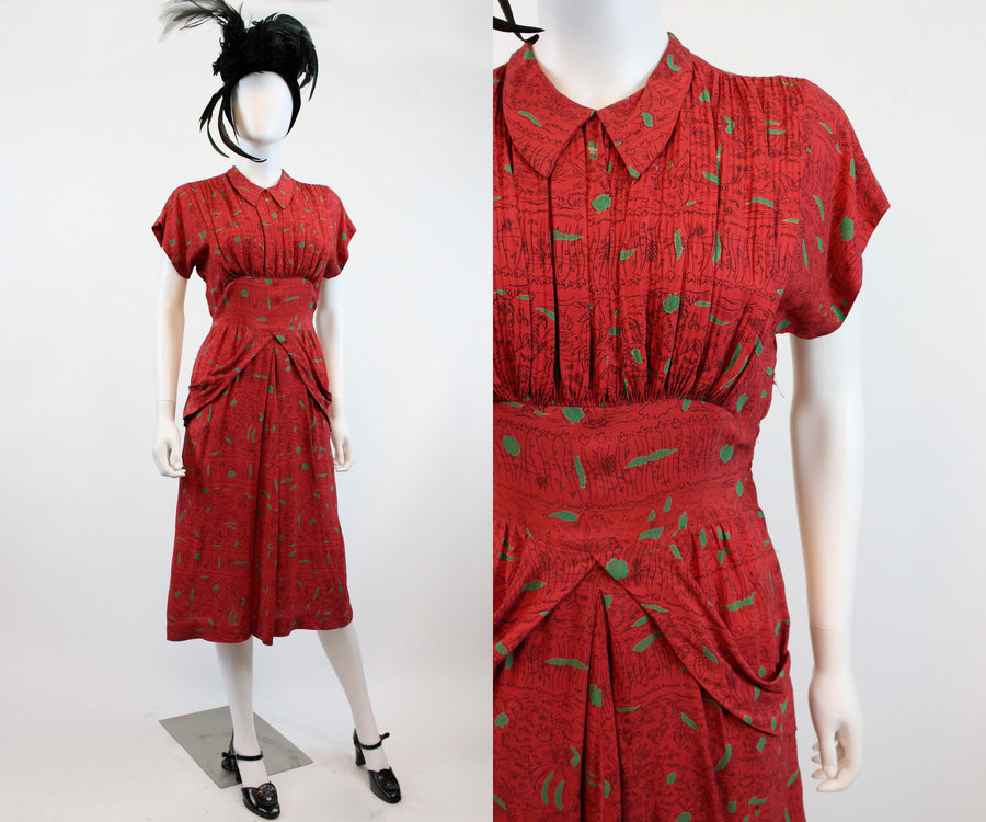 1940s rayon novelty print dress small | vintage dutch people | new fall