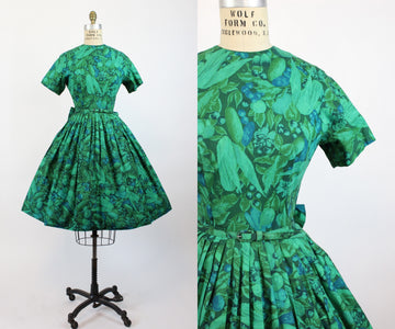 1950s novelty print fruits and veggies cotton dress small | new in