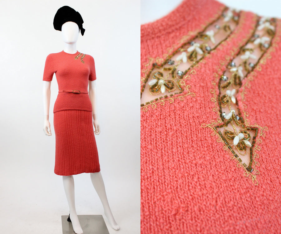 1940s arrow knit skirt set xs | vintage sweater and skirt | new in