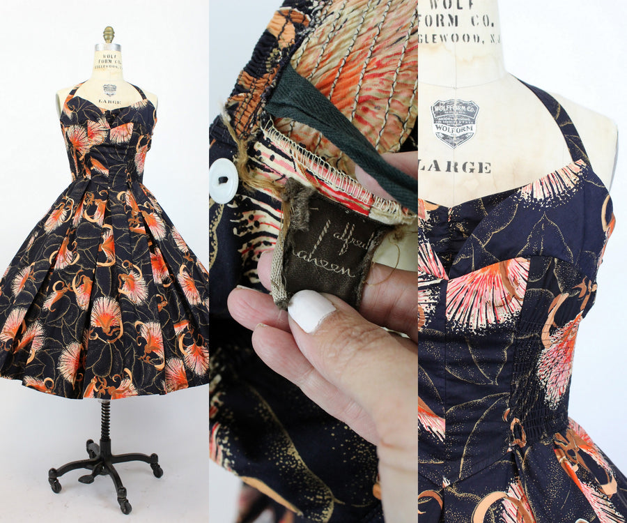 1950s Alfred Shaheen bombax print dress medium | vintage halter dress | new in
