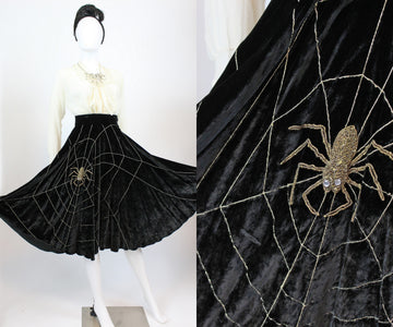 1950s SPIDERWEB spider silk velvet skirt xxs | vintage circle skirt | new in