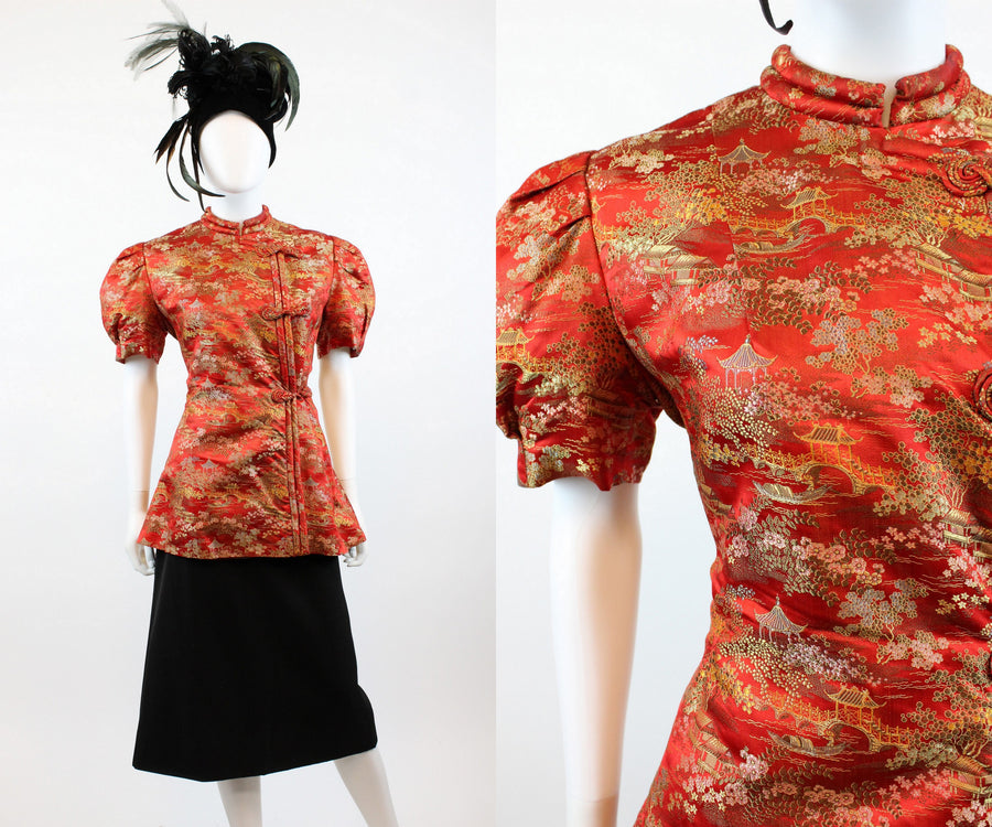 1940s asian peplum jacket blouse medium large | new in