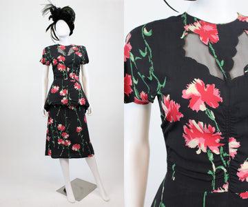 1940s carnation print dress xs | vintage scallop peplum dress | new in