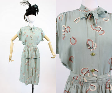 1940s novelty print horseshoe dress small | vintage cold rayon dress | new in
