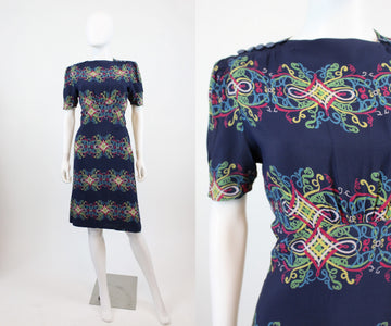 1940s rayon scroll print dress medium | vintage 40s dress | new in