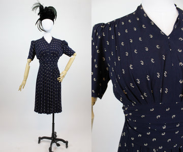 1930s rayon dress xs | vintage swirl print dress | new in