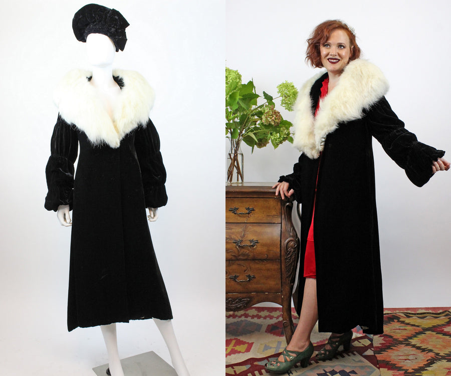 1930s silk velvet fur collar coat small medium  | vintage opera coat new in