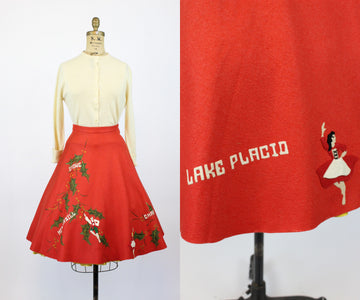 1950s novelty ski resort skirt and sweater set xs | new in