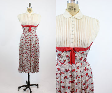1940s rayon dress small | vintage peter pan collar | new in