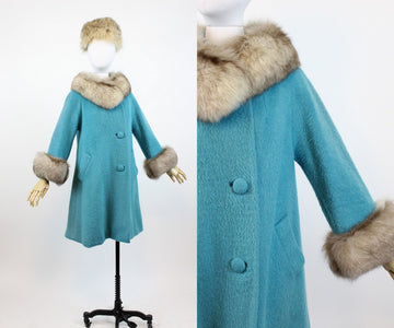 1960s turquoise Lilli Ann fur coat small medium | vintage wool coat | new in