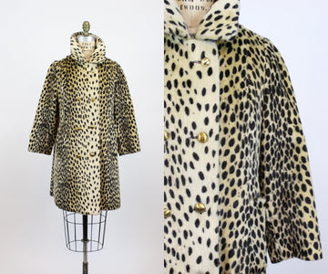 1960s leopard coat small medium | vintage faux fur jacket | new fall