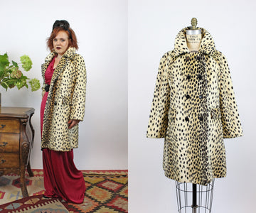 1960s leopard coat medium | vintage faux fur jacket | new fall