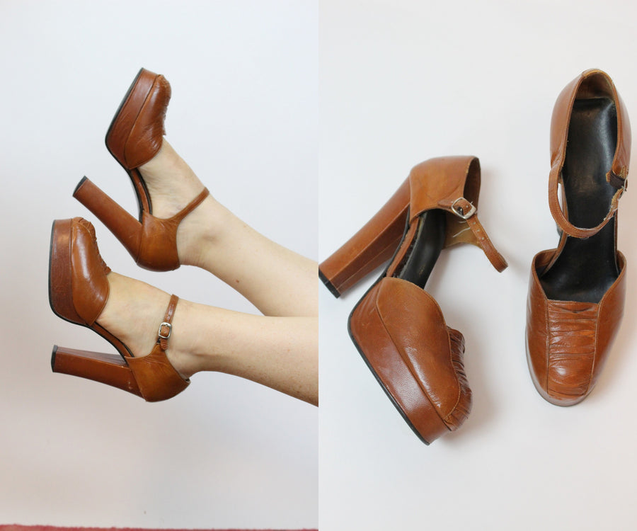 1970s platform mary jane shoes size 7 us | vintage 1970s does 1940s pumps | new in