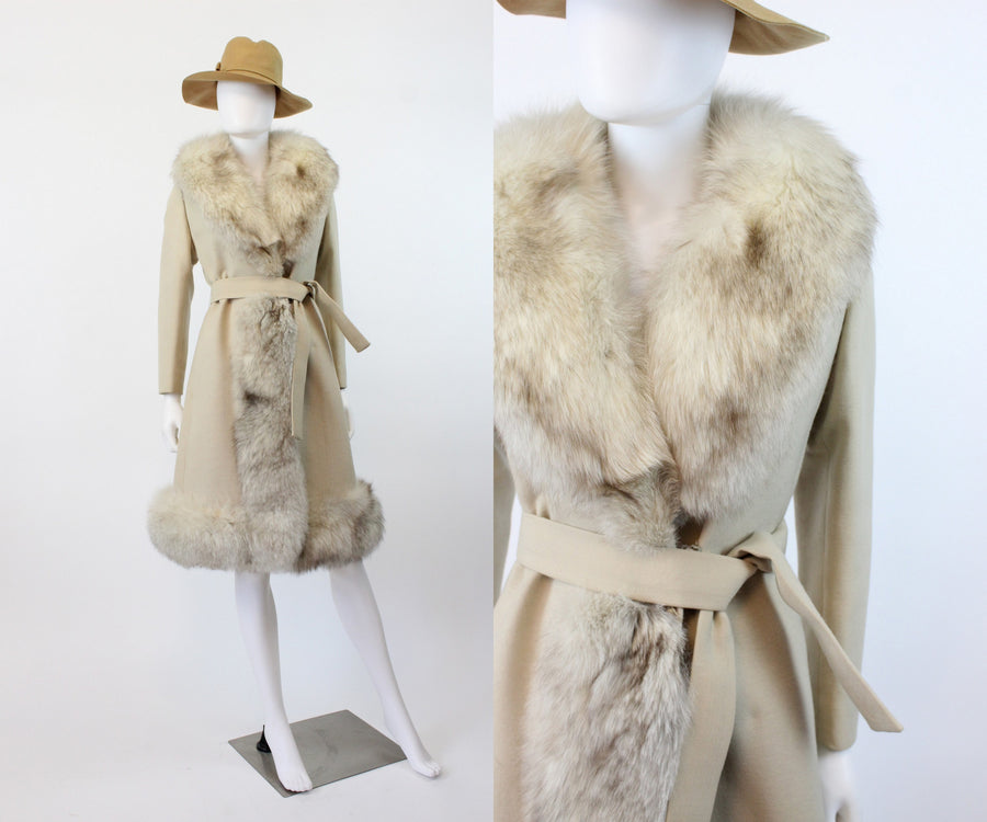 1960s fox fur coat xs small | vintage wool belted jacket | new in