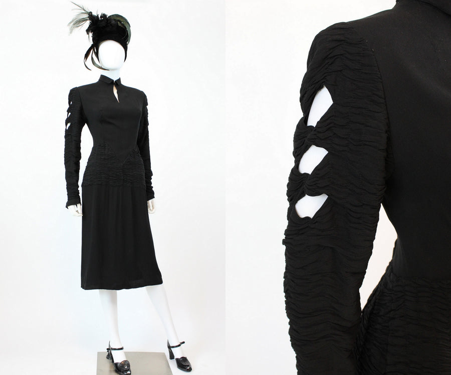 1930s ruched cutout sleeve dress xs | vintage rayon dress | new fall