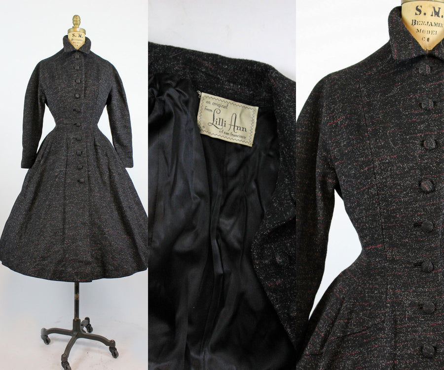 1950s Lilli Ann princess coat xs | vintage fit and flare flecked coat | new fall